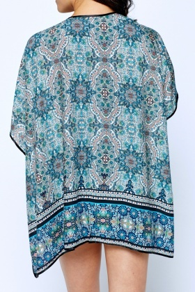 Ornate Mixed Print Turquoise Cover Up Kimono