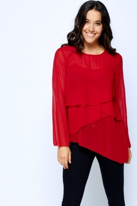Overlay Front Long Sleeve Blouse