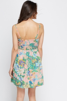 Pink Wild Floral Bandeau Pleated Dress
