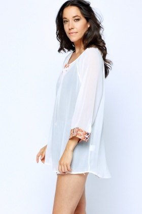 Printed Embellished Cover Up