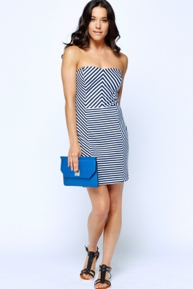 Striped Navy Bandeau Dress
