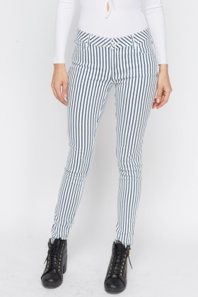 Stripped Fitted Jeans