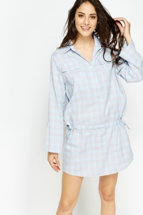 Checked Drawstring Mini Dress