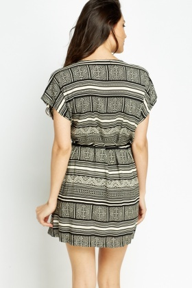 Embellished Neck Black Printed Shift Dress