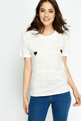 Heart Printed Dip Hem T-Shirt