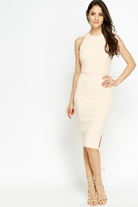 High Neck Baby Pink Bodycon Dress