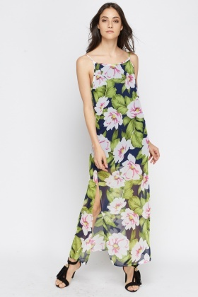 Navy Floral Sheer Maxi Dress