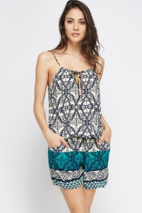 Ornate Contrast Playsuit