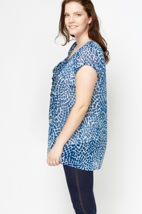 Pleated Neck Blue Blouse Top