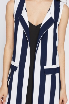 Striped Long Line Gilet