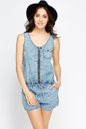 Washed Denim Playsuit