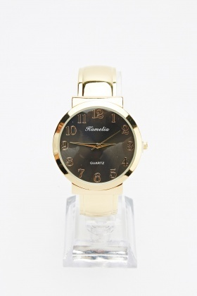 Gold Contrast Bracelet Watch