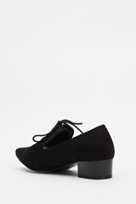 Pointed Suedette Black Shoes