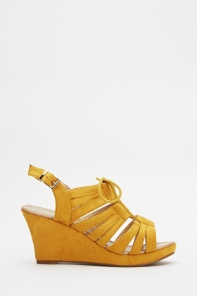 Suedette Wedge Sling Back Sandals