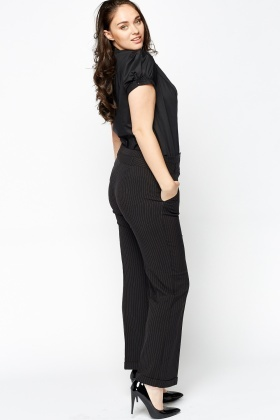 Black Smart Pinstripe Trousers