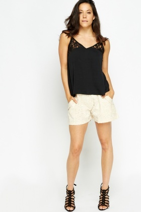 Embroidered Front Shorts