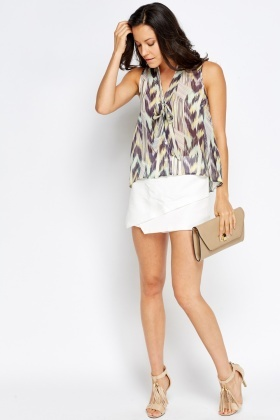 Geo Multi Cropped Blouse Top