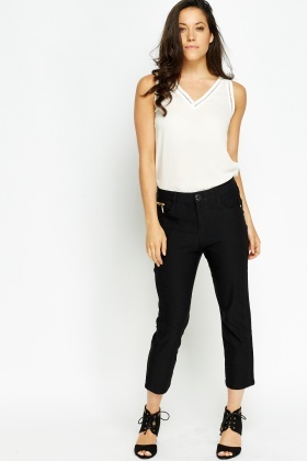 Gold Button Cropped Trousers