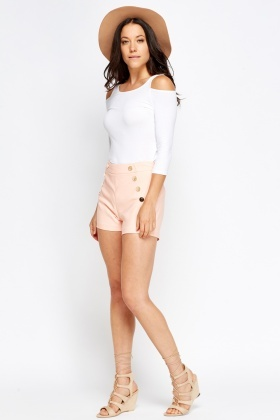 High Waisted Button Trim Shorts