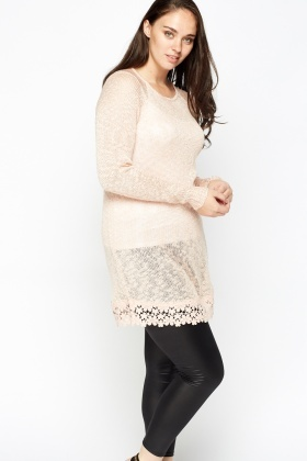 Loose Knit Mesh Hem Top