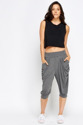 Pleated Side Harem Cropped Trousers