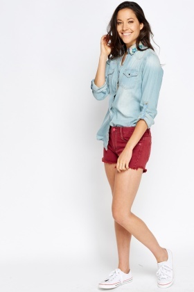 Printed Collar Denim Shirt