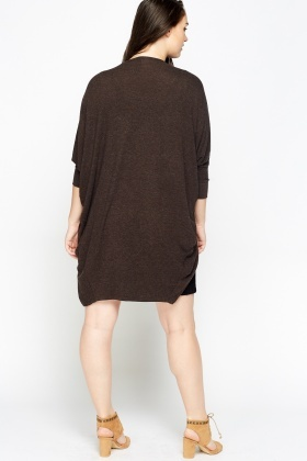 Coffee Batwing Open Front Cardigan