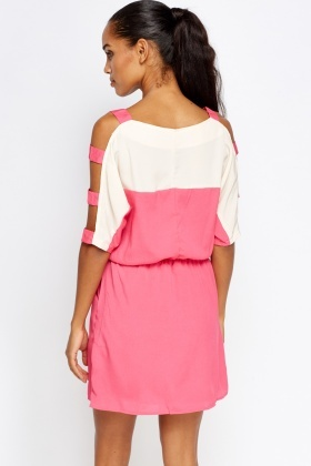Cut Out Shoulder Two Tone Dress