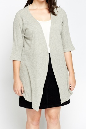 Grey Asymmetric Open Front Cardigan