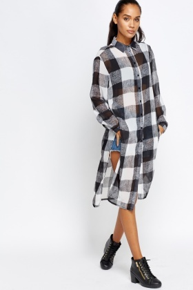 Grid Check Long Line Shirt Top