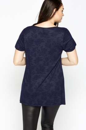 Navy Fade Rose Print T-Shirt