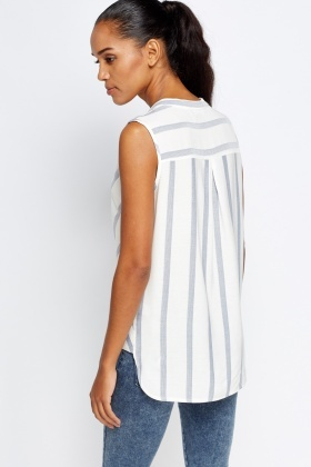 Off White Stripe Wrap Top