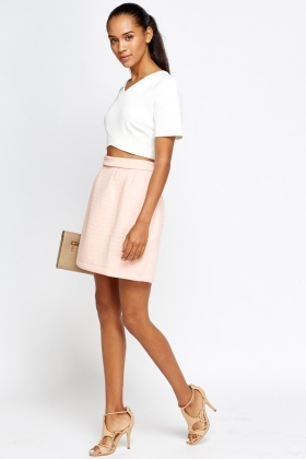 Pleated Waist Textured Skater Skirt
