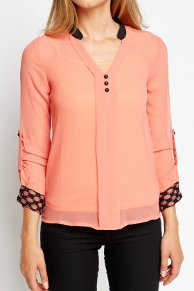 2 In 1 Contrast Blouse