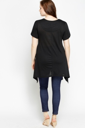 Asymmetric Pocket Side Tunic Top