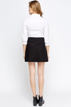Cotton Mini Button Skirt