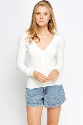 Low Neck Cotton Blend Knit Top