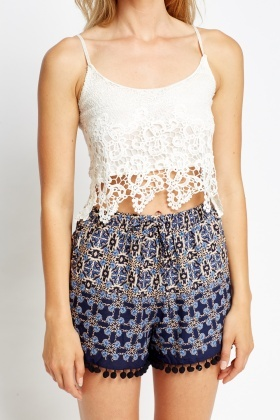 Mesh Overlay Crop Top