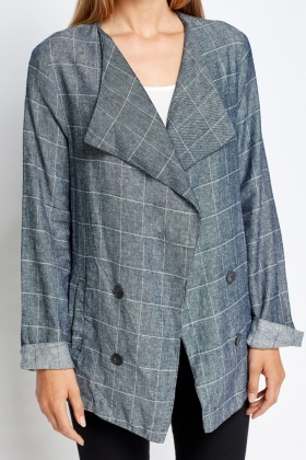 Navy Check Grid Asymmetric Blazer