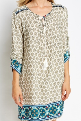 Ornate Tie Up Tunic Dress