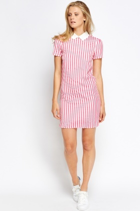 Pink Striped Collar Bodycon Dress