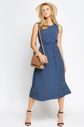 Polka Dot Elasticated Midi Dress