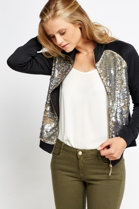 Sequin Front Bomber Jacket