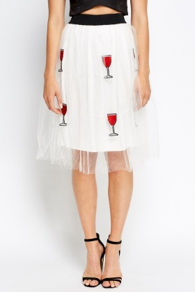 Wine Printed Puffy Elasticated Skirt