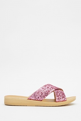 Crossed Glitter Slip On Sandals