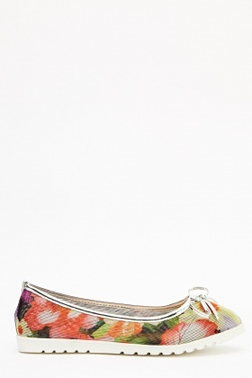Floral Print Peforated Ballet Shoes