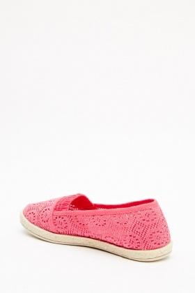 Mesh Pattern Espadrille Slip On Shoes