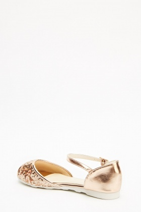Sequin Contrast Ankle Strap Sandals