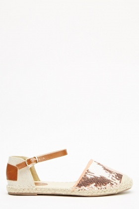 Sequin Embellished Ankle Strap Sandals