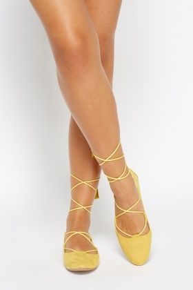 Suedette Court Tie Up knee Shoes